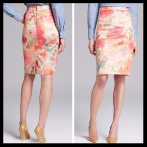 kate spade // marit gold pink floral pencil skirt